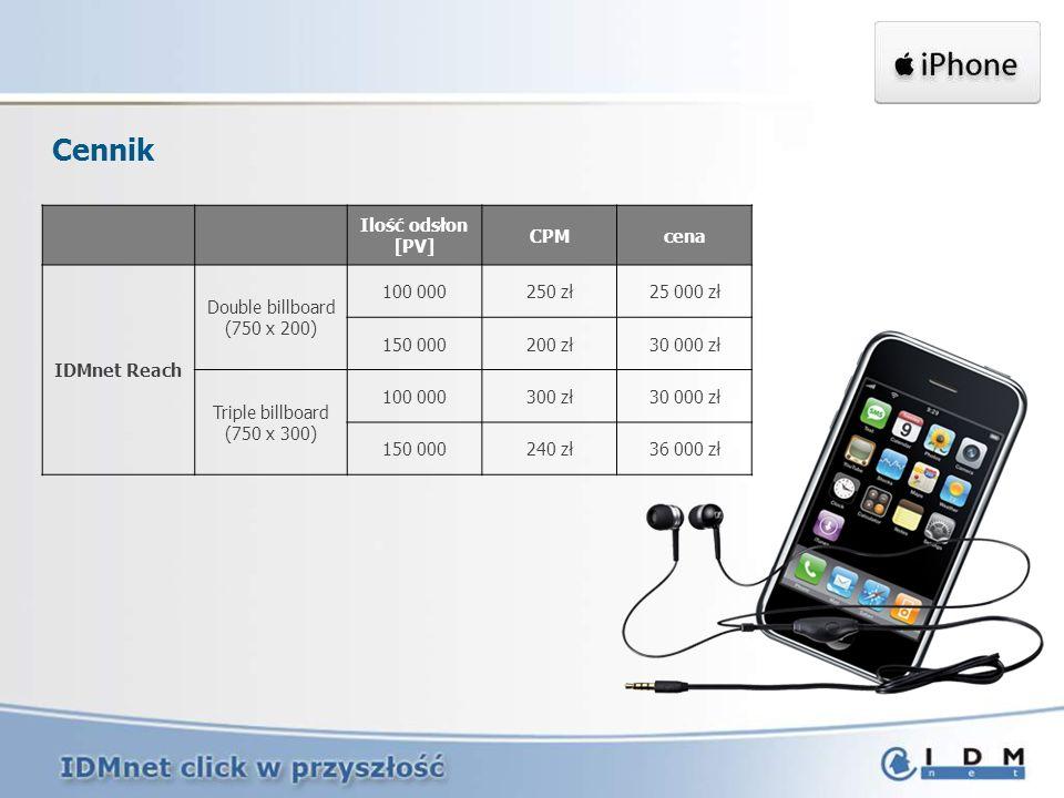 Cennik Ilość odsłon [PV] CPM cena IDMnet Reach